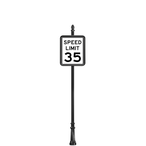 "CAD Drawings Brandon Industries Complete 18"" x 24"" Speed Limit Sign with SB-64 Base"