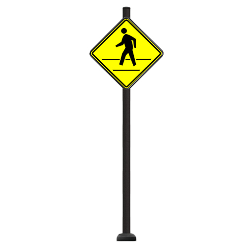 "CAD Drawings Brandon Industries Complete 30"" Diamond Pedestrian Crossing Sign with SBQ-14 Base"