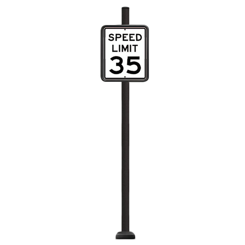 "CAD Drawings Brandon Industries Complete 18"" x 24"" Speed Limit Sign with SBQ-14 Base"
